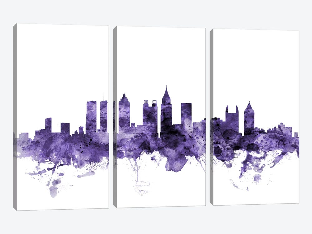 Atlanta, Georgia Skyline by Michael Tompsett 3-piece Canvas Print