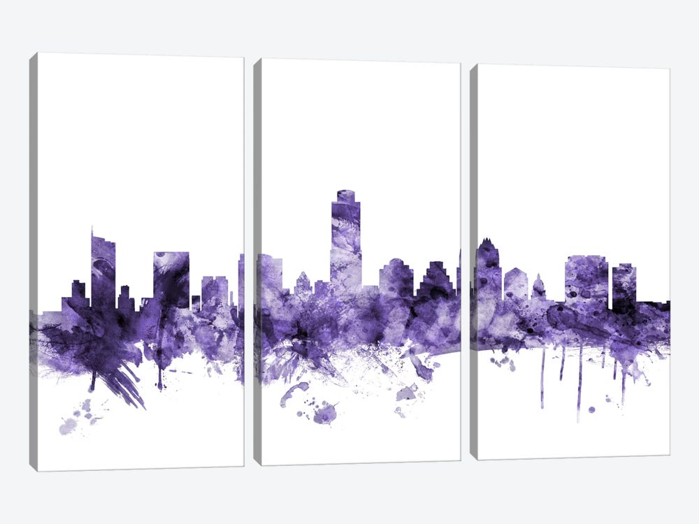 Austin, Texas Skyline by Michael Tompsett 3-piece Canvas Print
