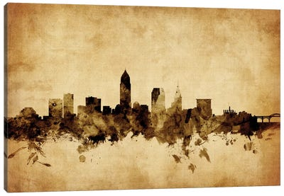 Foxed (Retro) Skyline Series: Cleveland, Ohio, USA Canvas Art Print