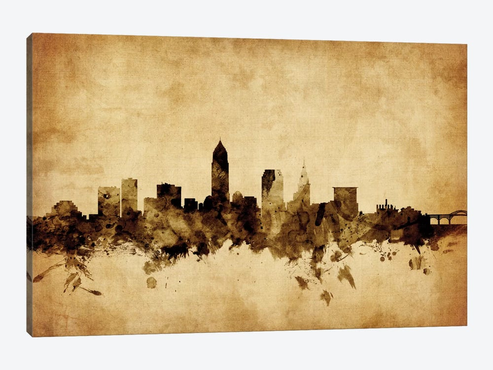 Foxed (Retro) Skyline Series: Cleveland, Ohio, USA 1-piece Canvas Print