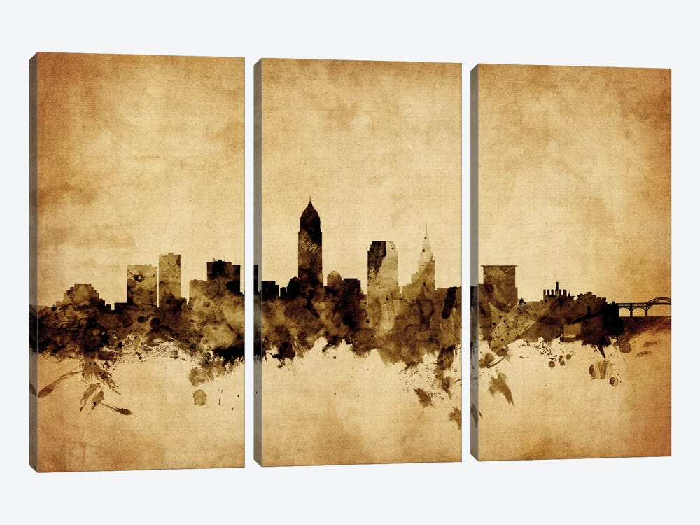 Foxed (Retro) Skyline Series: Cleveland, Ohio, USA by Michael Tompsett 3-piece Canvas Print