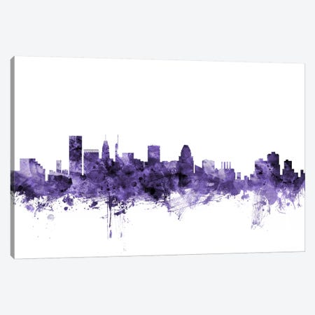 Baltimore, Maryland Skyline 3-Piece Canvas #MTO540} by Michael Tompsett Canvas Wall Art