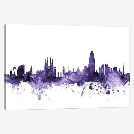 Barcelona, Spain Skyline Canvas Print #MTO542} by Michael Tompsett Canvas Wall Art