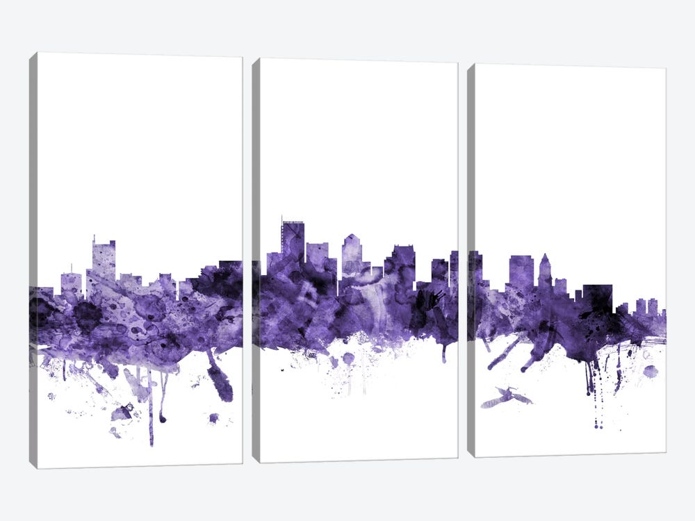 Boston, Massachusetts Skyline II by Michael Tompsett 3-piece Canvas Artwork