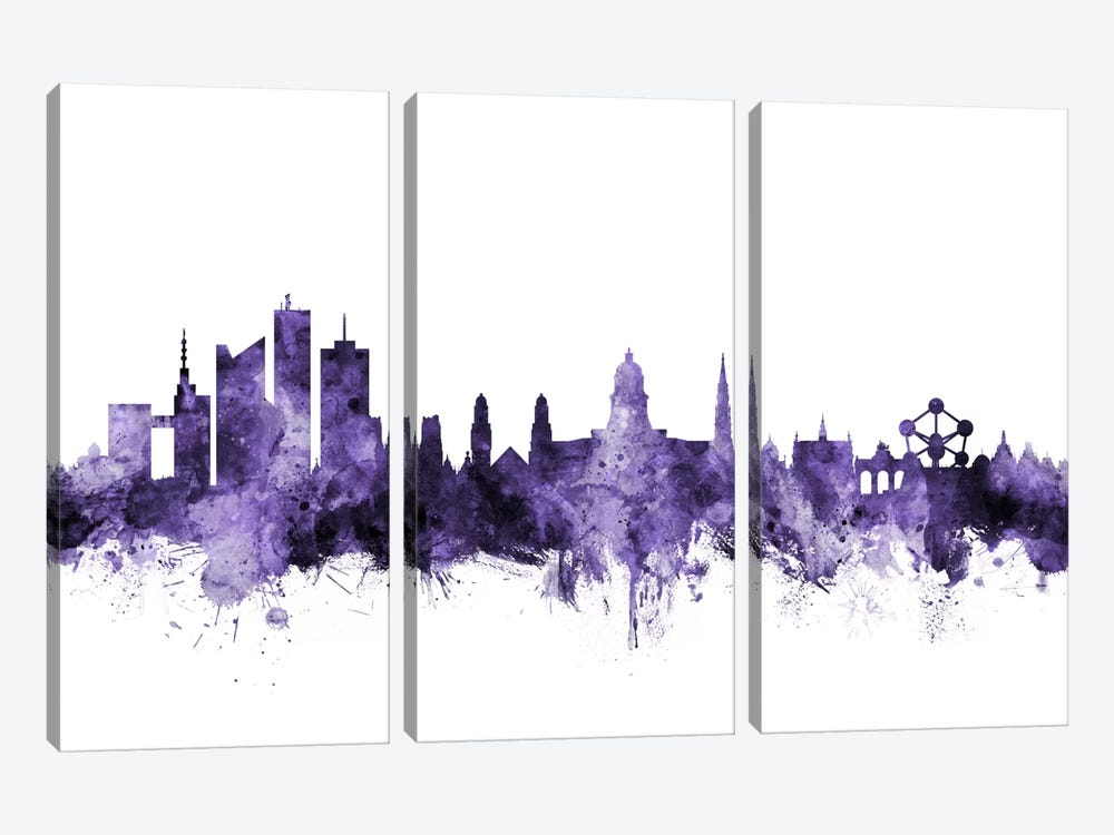 Brussels, Belgium Skyline by Michael Tompsett 3-piece Canvas Art