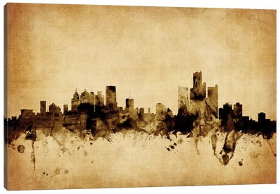 Foxed (Retro) Skyline Series: Detroit, Michigan, USA Canvas Art Print
