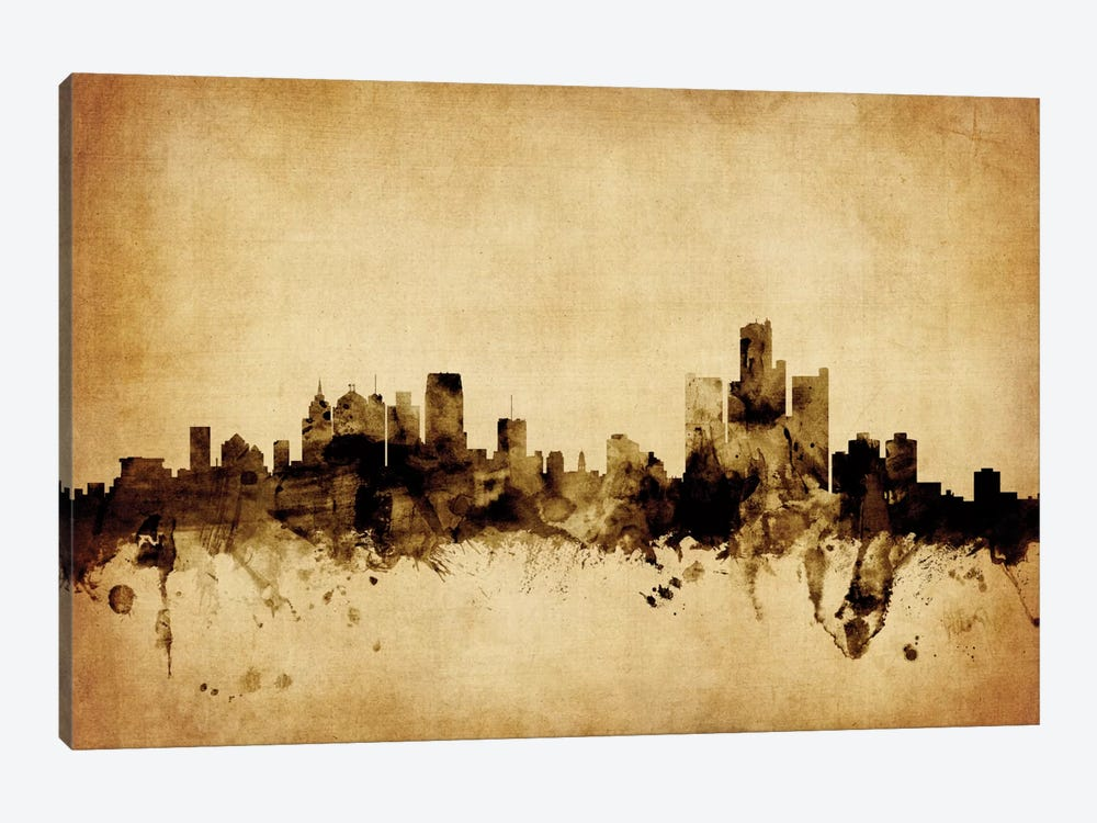 Foxed (Retro) Skyline Series: Detroit, Michigan, USA by Michael Tompsett 1-piece Canvas Print