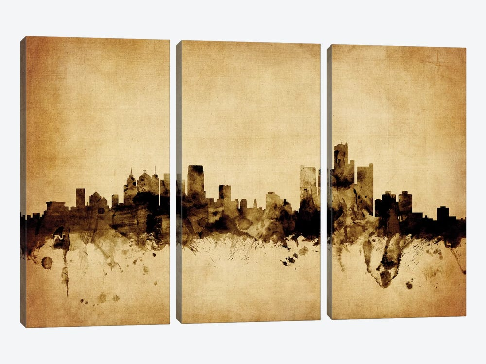 Foxed (Retro) Skyline Series: Detroit, Michigan, USA by Michael Tompsett 3-piece Canvas Print