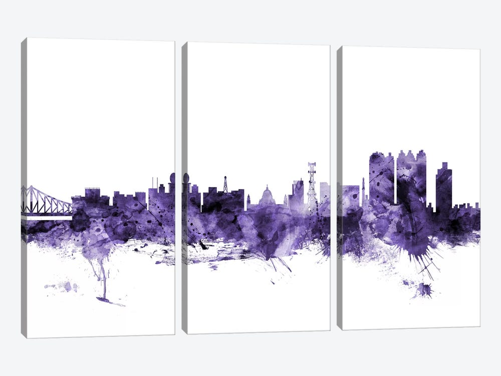 Calcutta (Kolkata), India Skyline by Michael Tompsett 3-piece Canvas Print