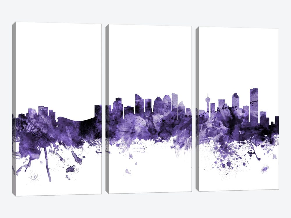 Calgary, Canada Skyline by Michael Tompsett 3-piece Canvas Wall Art