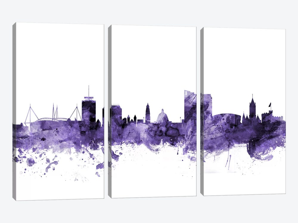 Cardiff, Wales Skyline by Michael Tompsett 3-piece Canvas Artwork