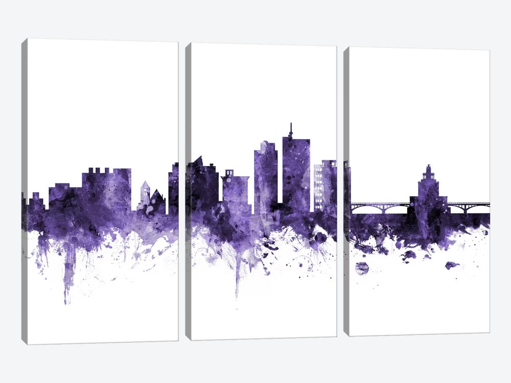 Cedar Rapids, Iowa Skyline 3-piece Canvas Print