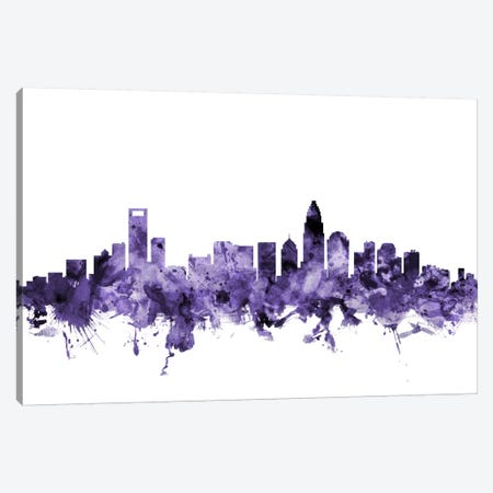 Charlotte, North Carolina Skyline 3-Piece Canvas #MTO567} by Michael Tompsett Canvas Art Print