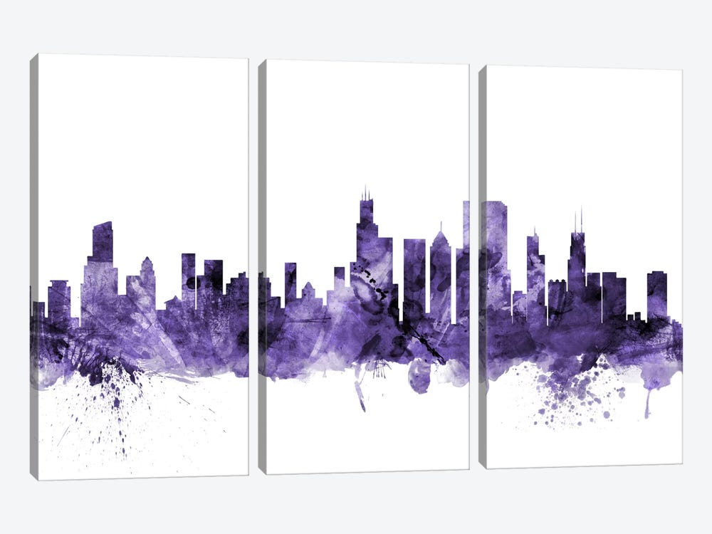 Chicago, Illinois Skyline by Michael Tompsett 3-piece Canvas Art Print