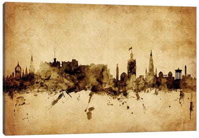 Foxed (Retro) Skyline Series: Edinburgh, Scotland, United Kingdom Canvas Art Print