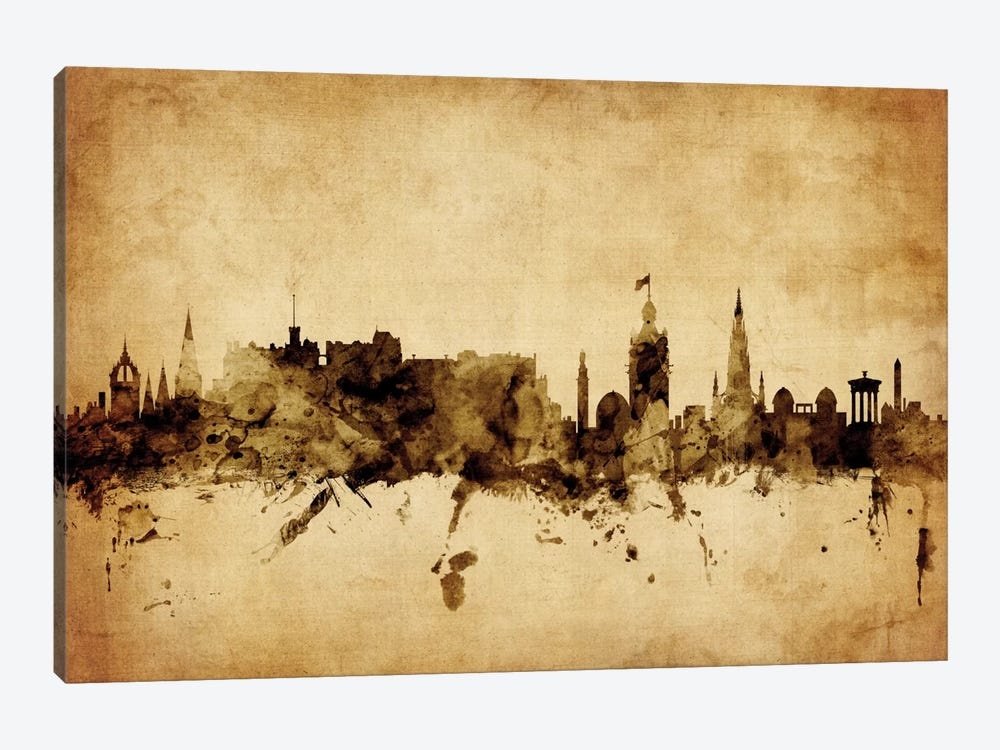 Foxed (Retro) Skyline Series: Edinburgh, Scotland, United Kingdom by Michael Tompsett 1-piece Canvas Wall Art