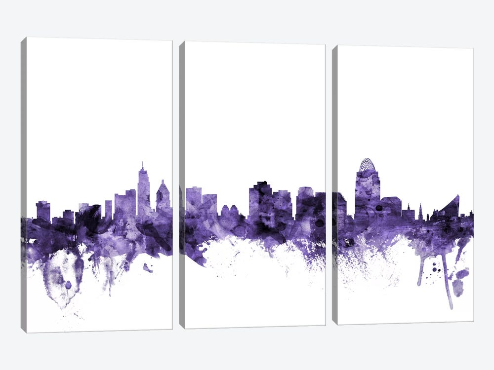 Cincinnati, Ohio Skyline by Michael Tompsett 3-piece Canvas Artwork