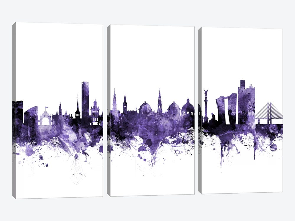 Copenhagen, Denmark Skyline by Michael Tompsett 3-piece Canvas Wall Art