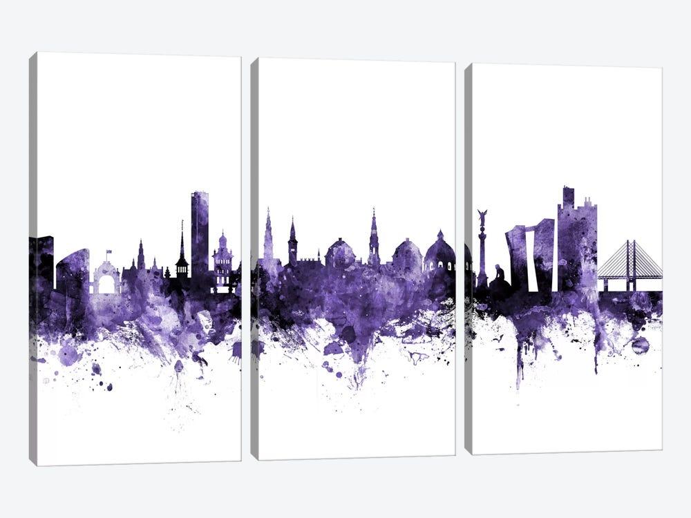 Copenhagen, Denmark Skyline by Michael Tompsett 3-piece Canvas Wall Art