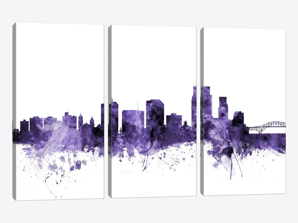 Corpus Christie, Texas Skyline by Michael Tompsett 3-piece Canvas Art Print