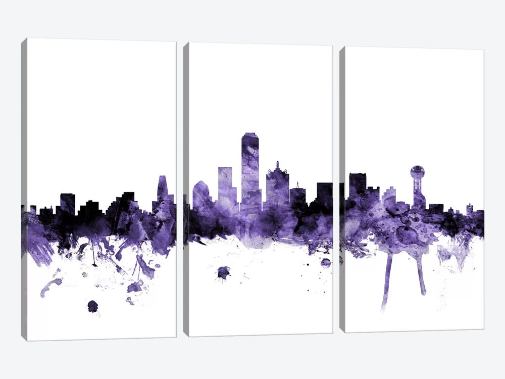 Dallas, Texas Skyline by Michael Tompsett 3-piece Canvas Art Print