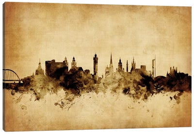 Foxed (Retro) Skyline Series: Glasgow, Scotland, United Kingdom Canvas Art Print