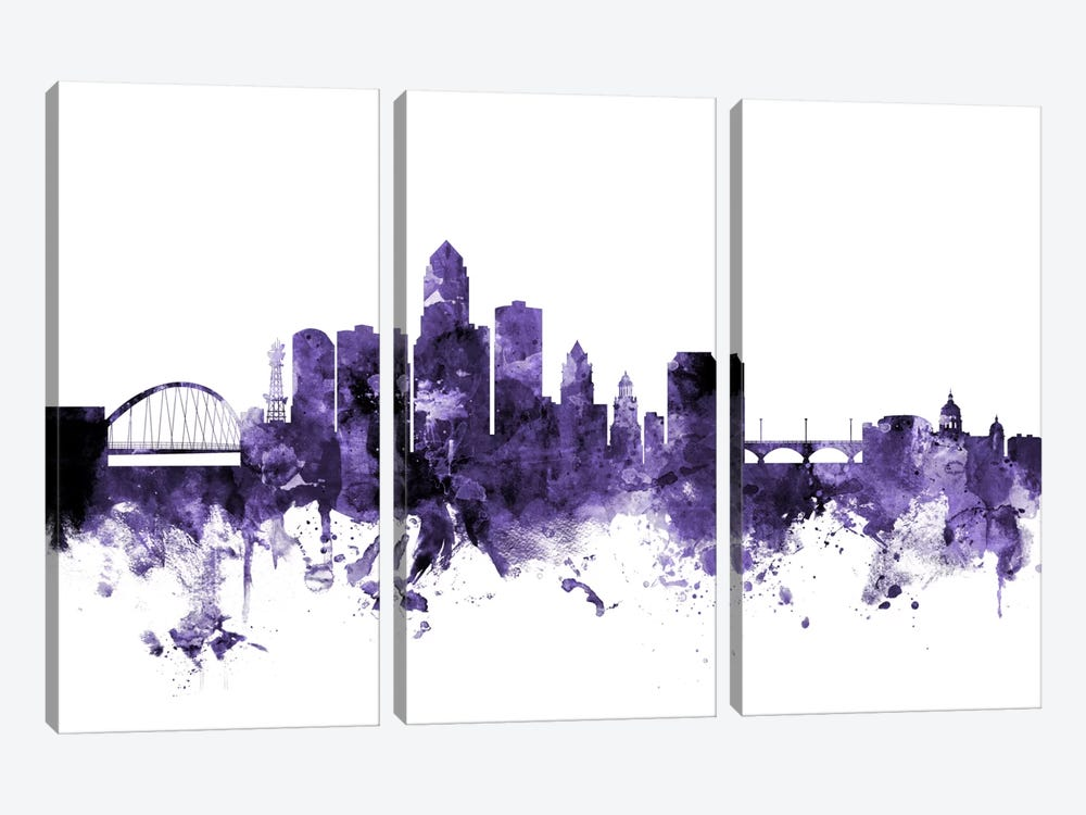 Des Moines, Iowa Skyline by Michael Tompsett 3-piece Art Print
