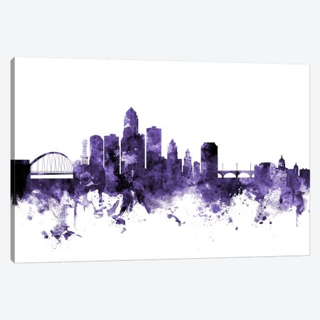 Des Moines, Iowa Skyline Canvas Print #MTO580} by Michael Tompsett Canvas Wall Art