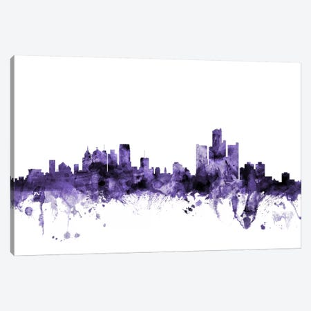 Detroit, Michigan Skyline Canvas Print #MTO581} by Michael Tompsett Canvas Artwork