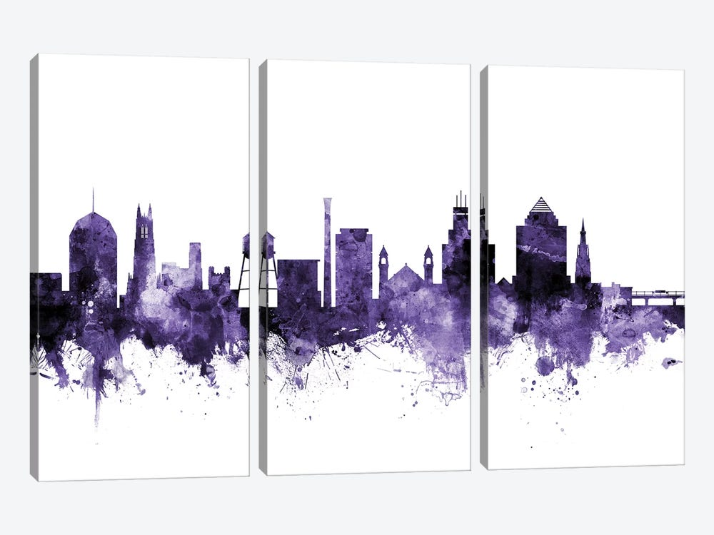 Durham, North Carolina Skyline 3-piece Canvas Wall Art