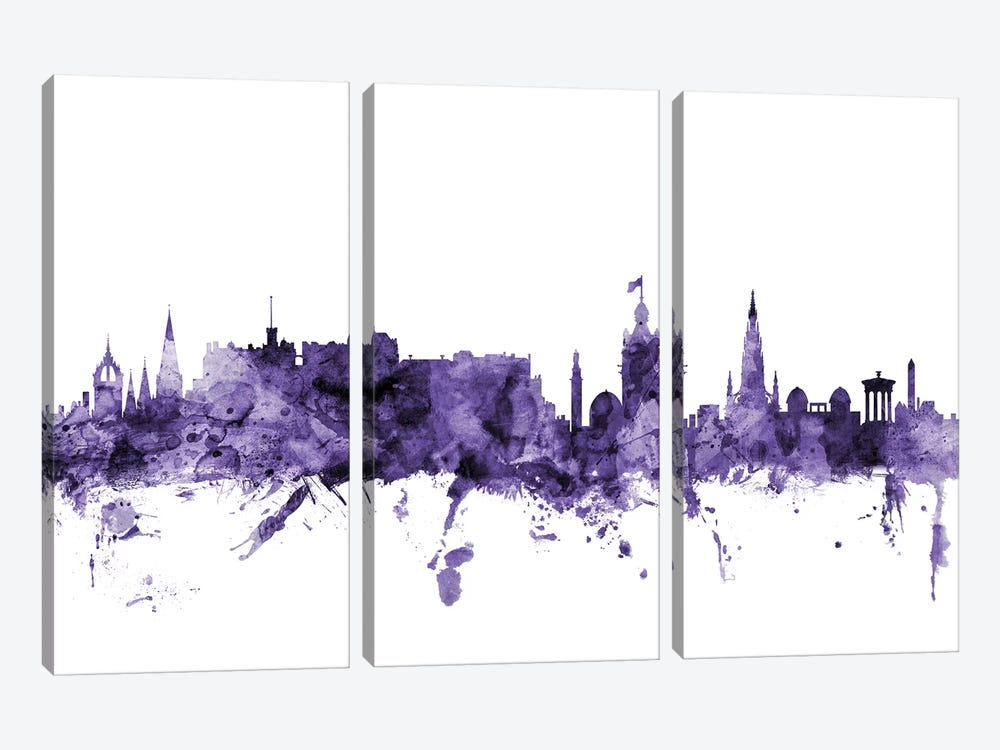 Edinburgh, Scotland Skyline by Michael Tompsett 3-piece Canvas Art
