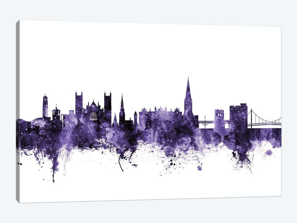 Exeter, England Skyline 1-piece Canvas Art Print