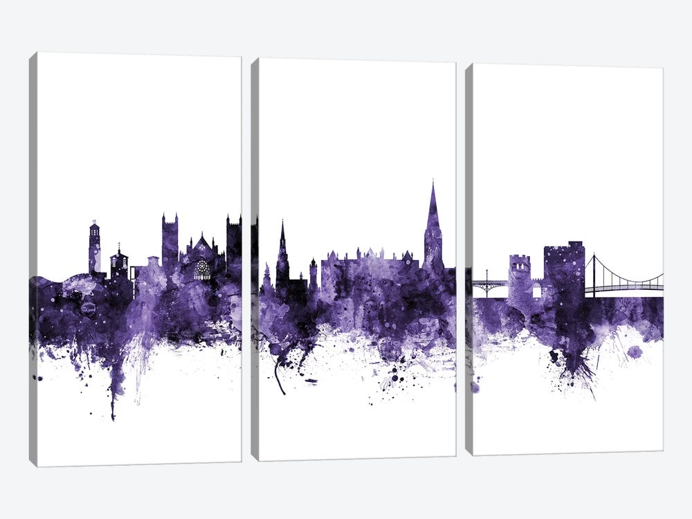 Exeter, England Skyline by Michael Tompsett 3-piece Canvas Art Print