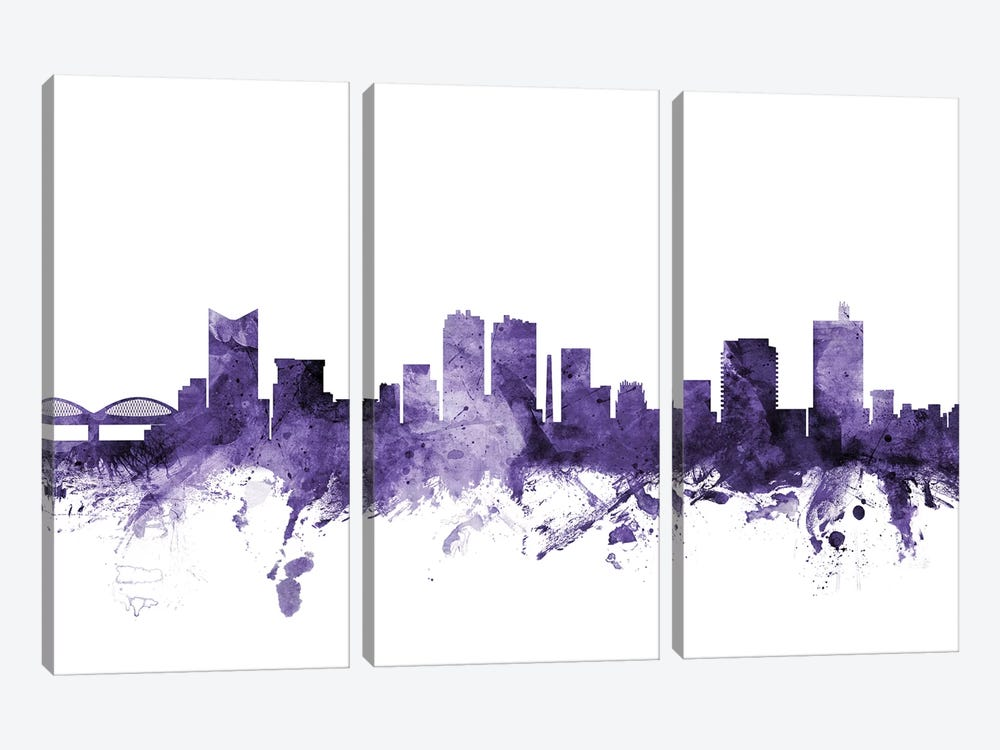 Fort Worth, Texas Skyline by Michael Tompsett 3-piece Canvas Wall Art