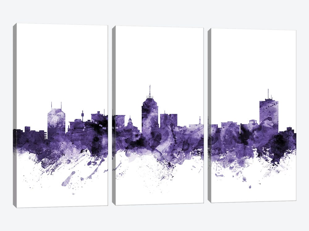 Fresno, California Skyline by Michael Tompsett 3-piece Canvas Artwork