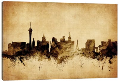 Foxed (Retro) Skyline Series: Las Vegas, Nevada, USA Canvas Print #MTO59