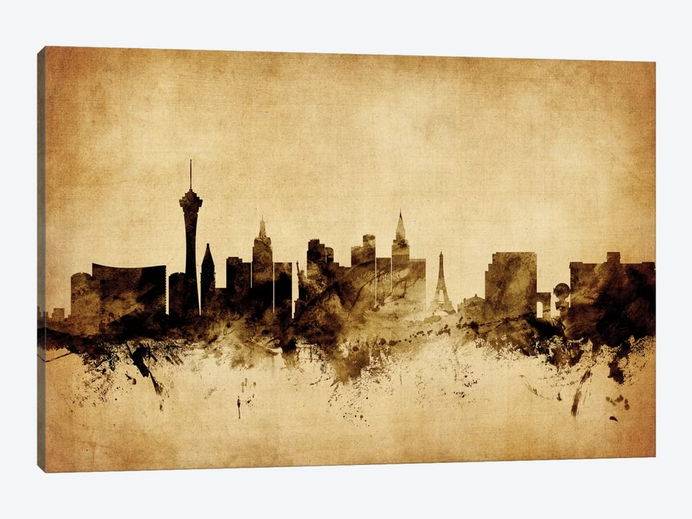 Foxed (Retro) Skyline Series: Las Vegas, Nevada, USA by Michael Tompsett 1-piece Art Print