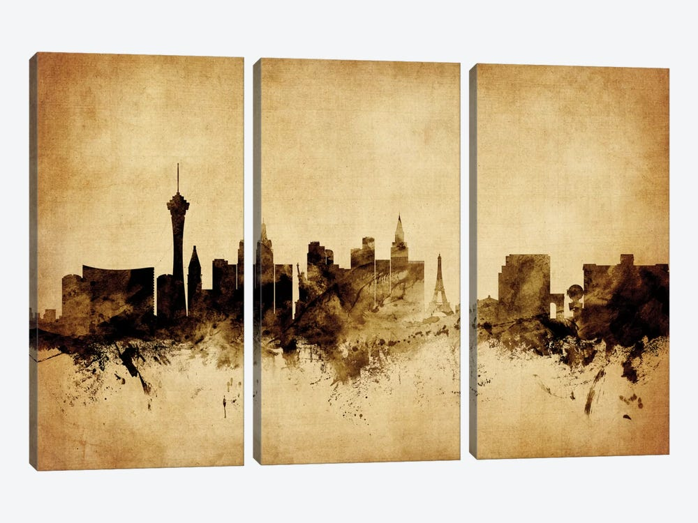 Foxed (Retro) Skyline Series: Las Vegas, Nevada, USA by Michael Tompsett 3-piece Art Print