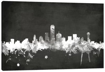 Blackboard Skyline Series: Dallas, Texas, USA Canvas Art Print