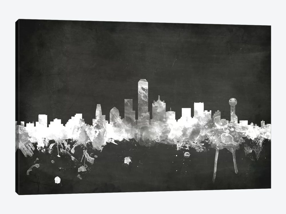Blackboard Skyline Series: Dallas, Texas, USA by Michael Tompsett 1-piece Canvas Wall Art