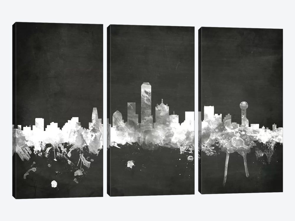 Blackboard Skyline Series: Dallas, Texas, USA by Michael Tompsett 3-piece Canvas Art