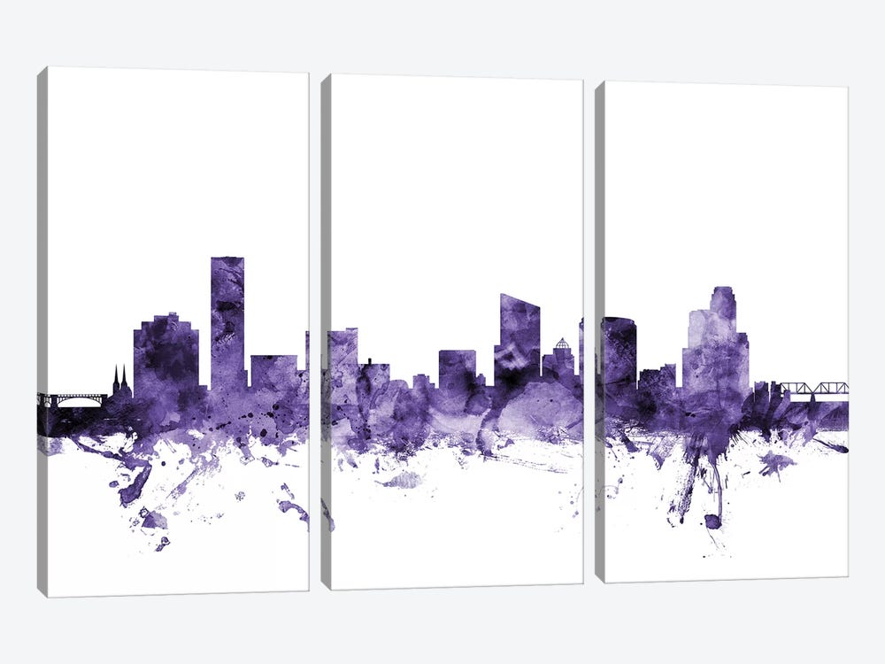 Grand Rapids, Michigan Skyline by Michael Tompsett 3-piece Canvas Wall Art