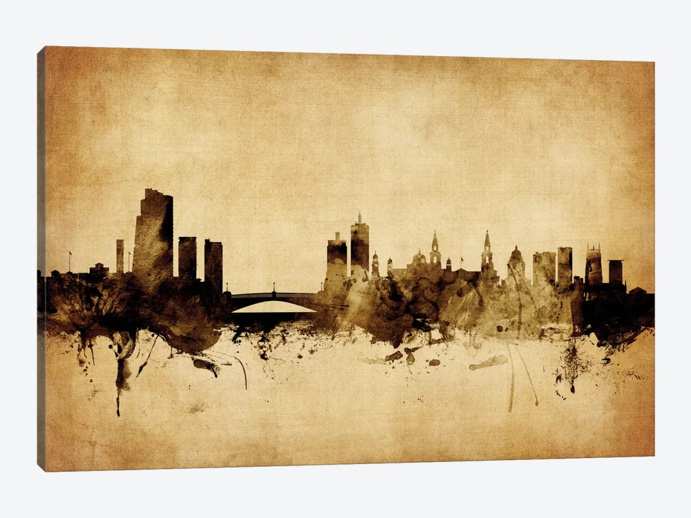 Foxed (Retro) Skyline Series: Leeds, England, United Kingdom by Michael Tompsett 1-piece Canvas Print
