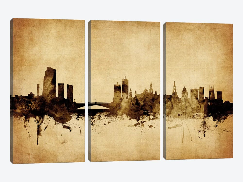 Foxed (Retro) Skyline Series: Leeds, England, United Kingdom by Michael Tompsett 3-piece Canvas Print
