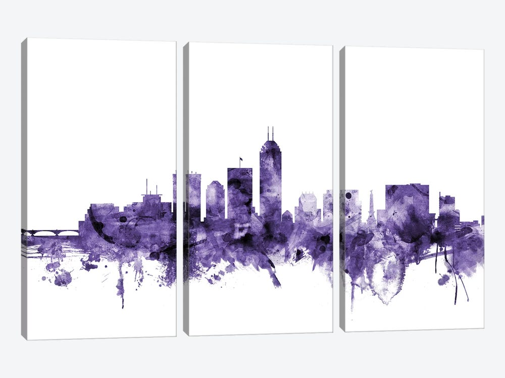Indianapolis, Indiana Skyline by Michael Tompsett 3-piece Canvas Print