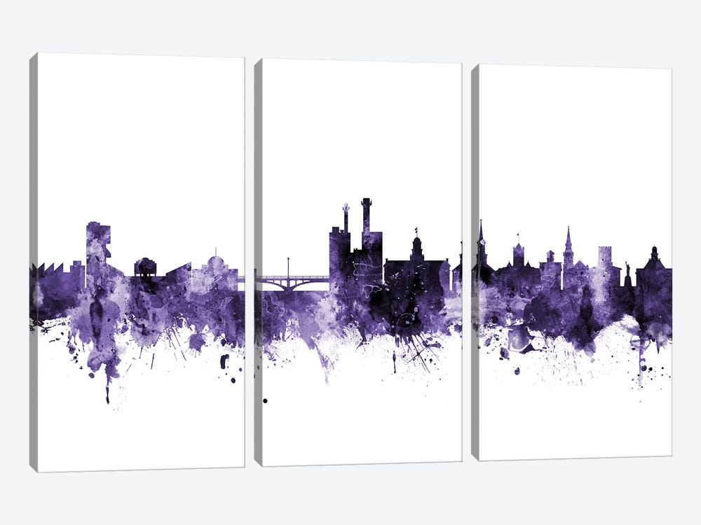 Iowa City, Iowa Skyline by Michael Tompsett 3-piece Canvas Art