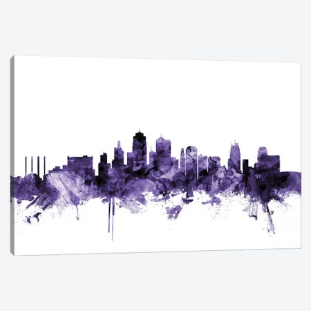 Kansas City, Missouri Skyline Canvas Print #MTO618} by Michael Tompsett Canvas Artwork