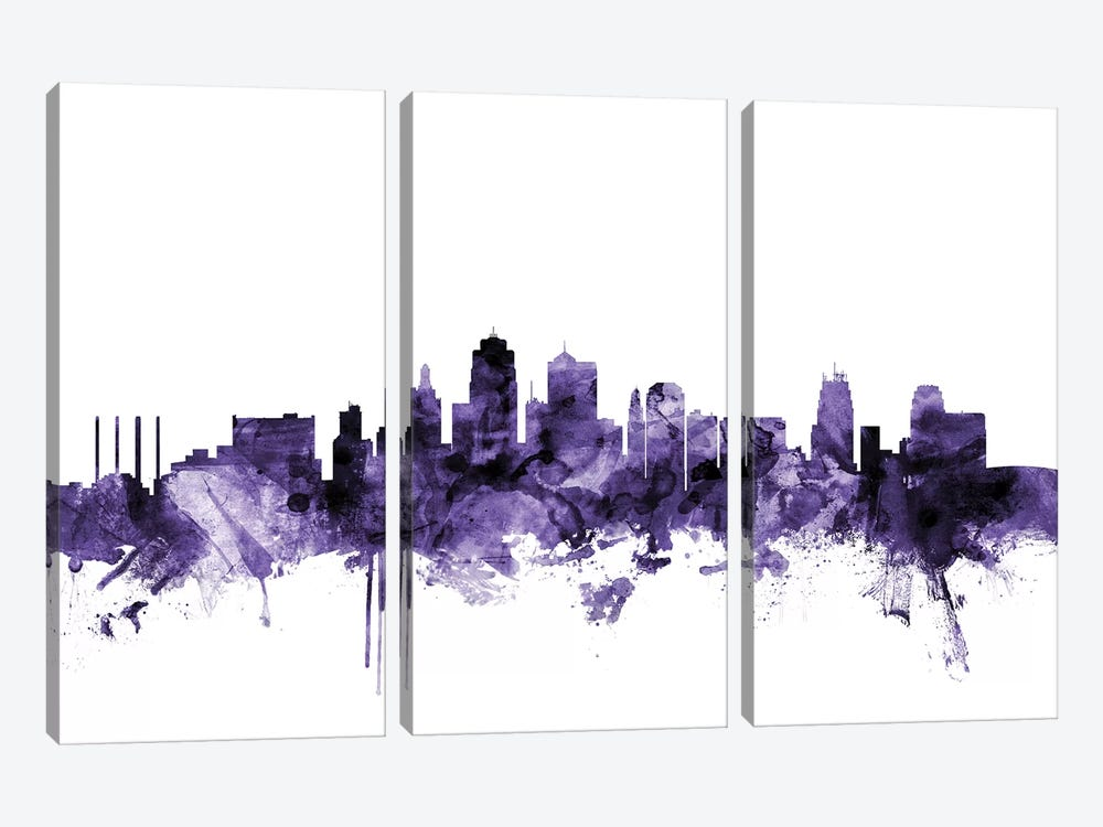 Kansas City, Missouri Skyline by Michael Tompsett 3-piece Canvas Artwork