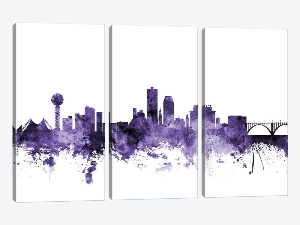 Knoxville, Tennessee Skyline by Michael Tompsett 3-piece Canvas Art Print