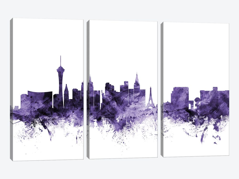 Las Vegas, Nevada Skyline by Michael Tompsett 3-piece Canvas Art